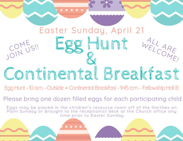 Egg Hunt and Continental Breakfast